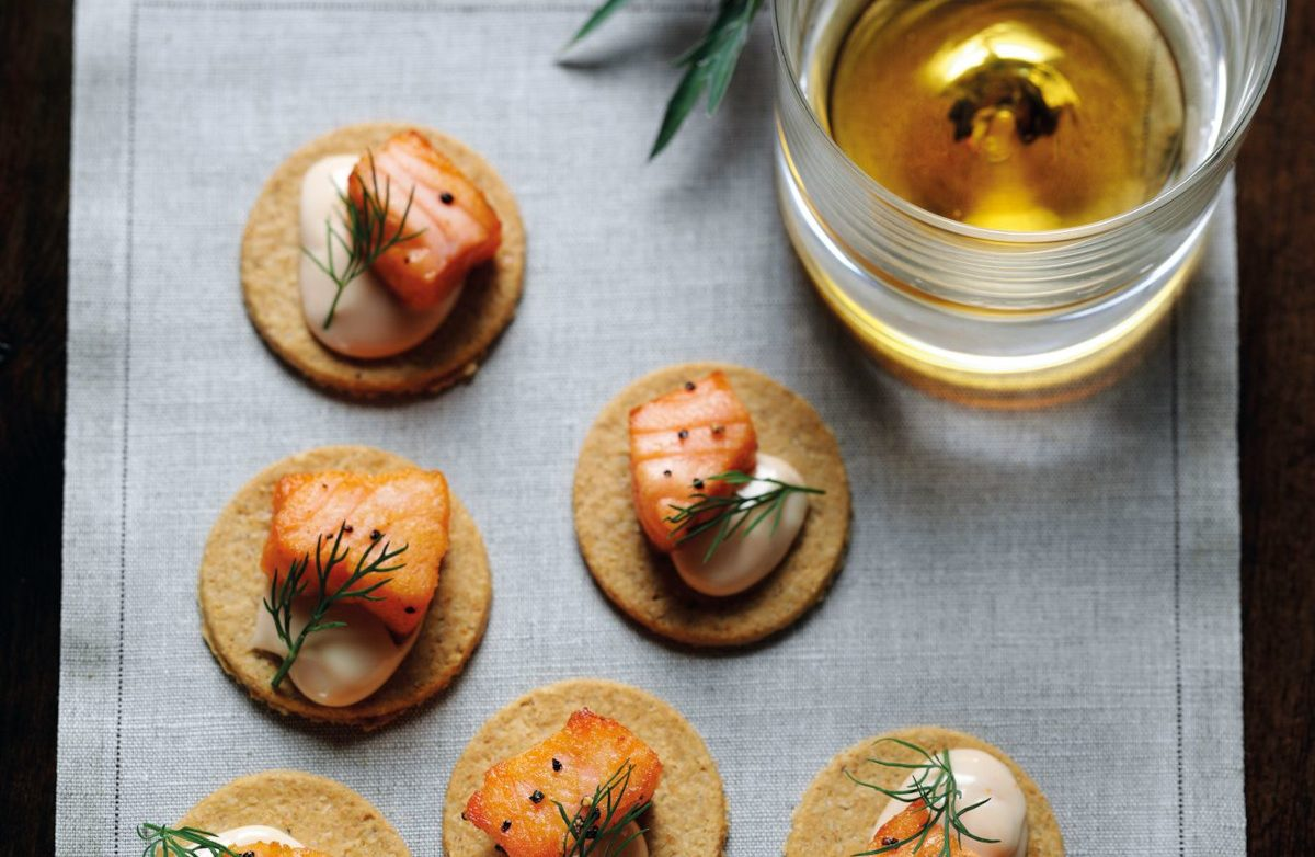 Seared Salmon with Whisky Mayonnaise Oat Crackers