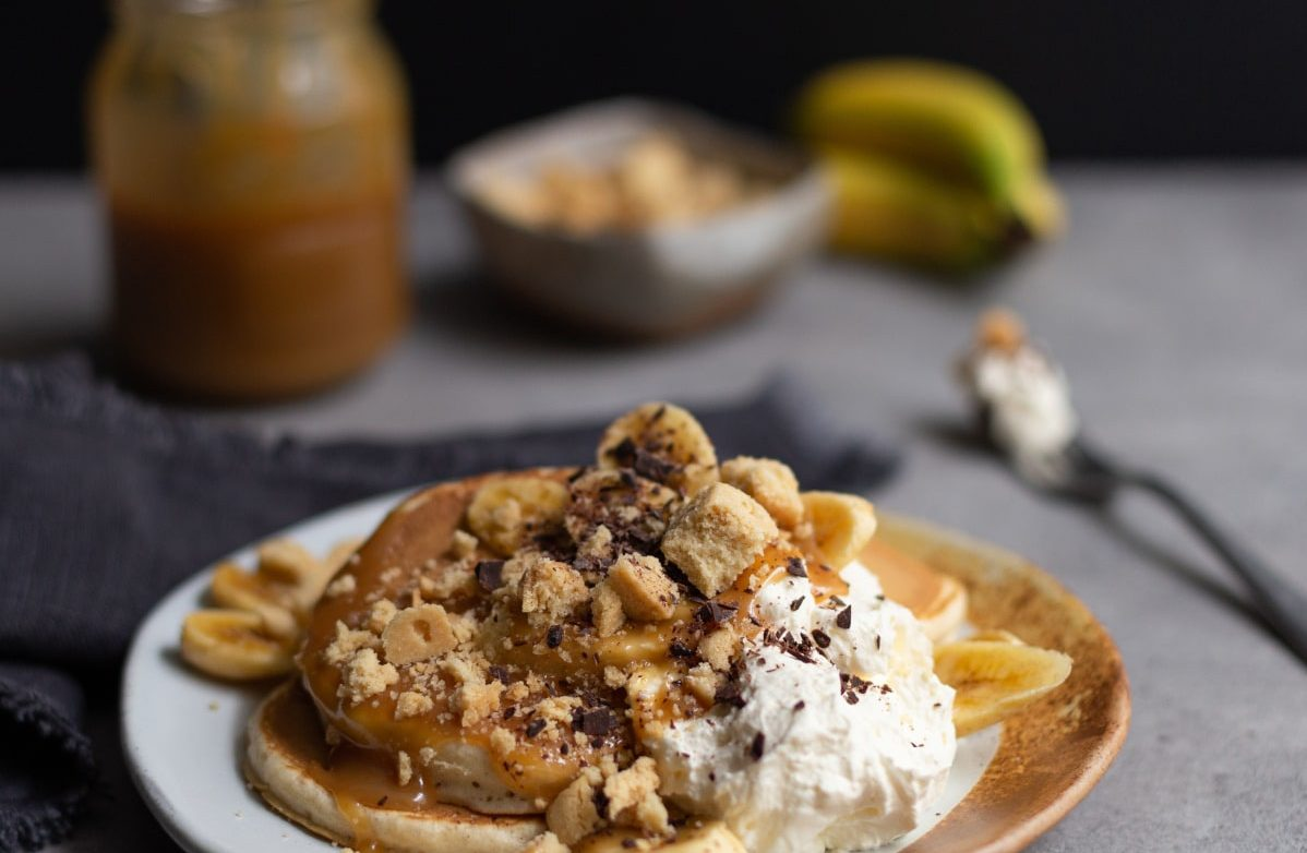 Scotch Pancakes with Banoffee Topping