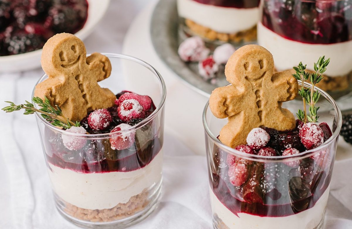 White Chocolate Cheesecakes with Mulled Wine Fruit