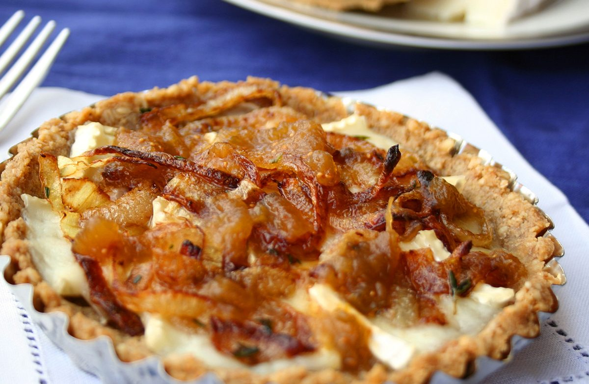 Brie and Caramelized Onion Tarts with Oat Cracker Crust