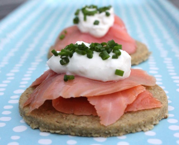 Smoked Salmon on Oat Crackers